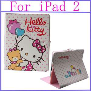 New hello kitty Ultra Slim Leather Case Cover With Stand For IPAD2