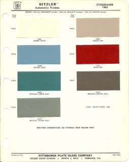 1962 STUDEBAKER Color Chip Paint Sample Brochure/Chart: PPG, Ditzler