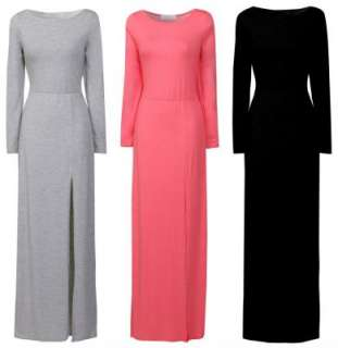 WOMENS LADIES DRESS LONG SLEEVE PLAIN SPLIT FRONT MAXI SKIRT UK SIZE S