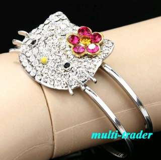 Sparkling Quality HELLO KITTY Bracelet Bangle FLOWER gift