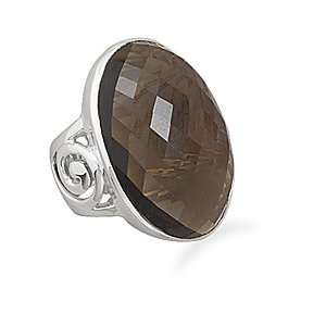 Oval Smoky Quartz Ring Spiral Band 31.5mm X 19mm Oval Faceted Smoky