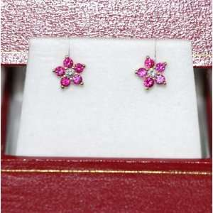 14K Yellow Gold small red flower Stud Earrings Jewelry