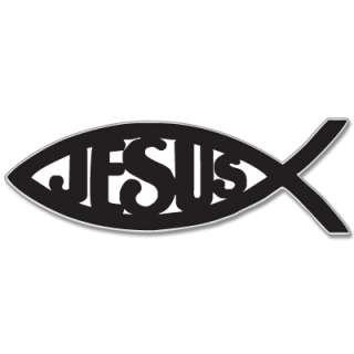 Ichthys Jesus Fish Christian car sticker decal 5 x 3