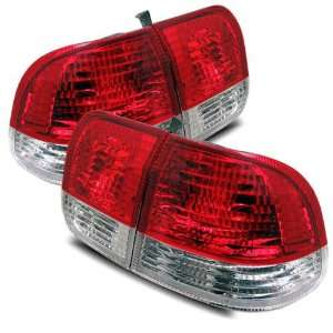 96 98 Honda Civic 4 Dr Red/Clear Tail Lights Automotive