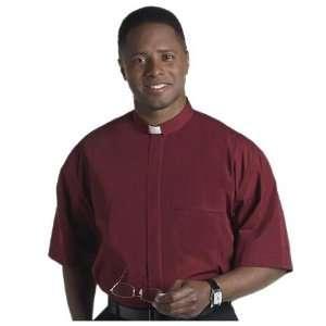 Sleeves Tab Collar Clergy Shirt Burgundy 20 20 1/2