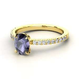 Colette Ring, Oval Iolite 14K Yellow Gold Ring with