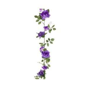 Club Pack of 12 Artificial Purple Spring Rose Silk Flower