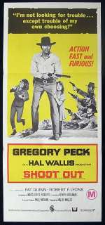 SHOOTOUT 1971 Gregory Peck Vintage daybill Movie poster