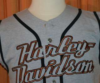 LAIDLAWS HARLEY DAVIDSON SLEEVELESS HD BASEBALL JERSEY SHIRT MENS