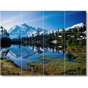 Mountain Scene Shower Tile Mural M093  36x48 using (12
