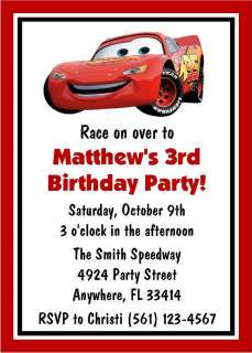 Disney Cars Birthday Invitations Favor Tags Candy Water