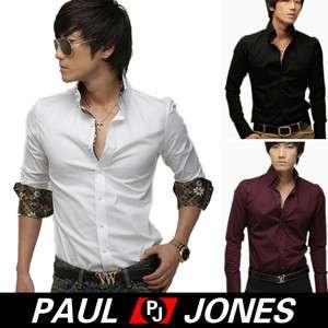 Sexy P&J Men's Slim style Stylish Rollup V neck Long shirts 3Cols