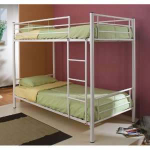 Twin Size Metal Bunk Bed with Sleek Design in White Finish