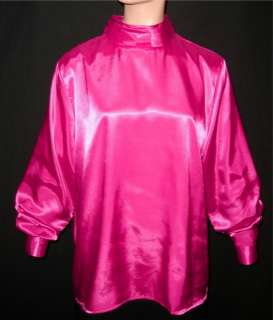 2X HOT PINK Shiny LIQUID SATIN HIGH NECK BLOUSE shirt top 2X PLUS SIZE
