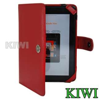 Red Folio Carry Case Cover for  Kindle Fire Tablet   PU Leather