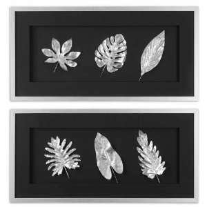Leaves (Set of 2) Wall Mounted Mirror Silver Shadow Box Holding Silver