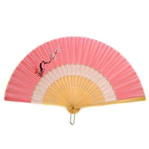 SILK HAND FAN Folding Pocket Purse Sensu Coral Pink White Hand Painted