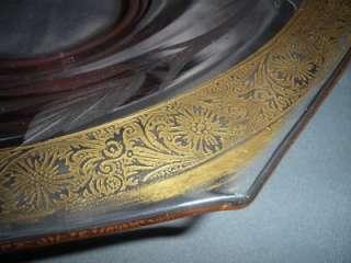 PINK DEPRESSION ELEGANT GLASS CONSOLE BOWL ETCHED GOLD