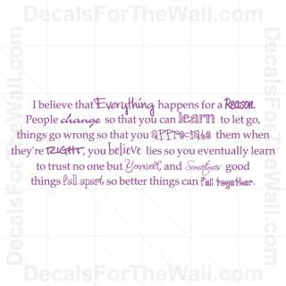Everything Happens for a Reason Wall Decal Vinyl Art Sticker Quote