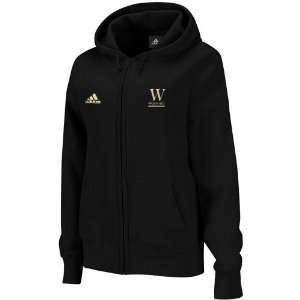 NCAA adidas Wofford Terriers Ladies Black Primary Logo Full Zip Hoodie