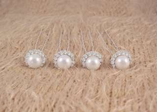 NEW Wedding Bridal Prom White Pearl Rhinestone Hair Pins 4pcs ★