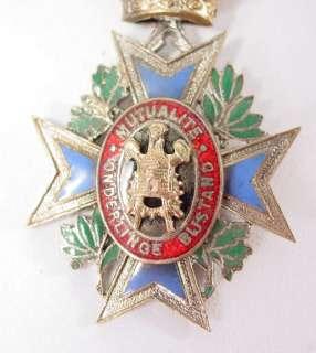1889 Antique Belgian Maltese Cross Enameled Medical Gilt Medal