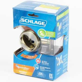 Schlage SecureKey Single Cylinder Deadbolt ANT. BRASS