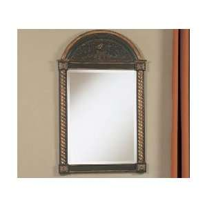 Powell Masterpiece Black Wall Mirror with Floral Design