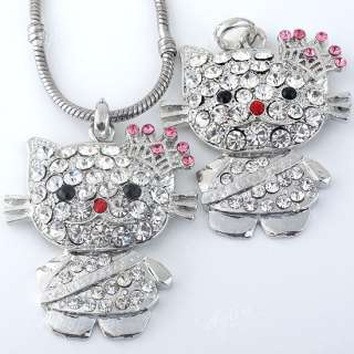 1PC Kitty Cat Wear Crown Charm Pendant Fit Necklace Gift Pink Crystal