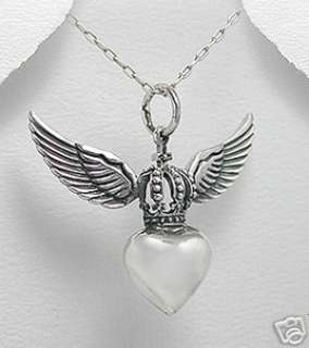 Sterling Silver Heart W/Crown and Angel Wings