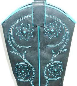 Franco Sarto Womens Cowboy Boots Dull Black w/ Turquoise Trim 6M 3