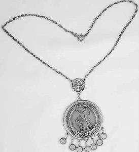 Vintage Goldette Signed Venus & Cupid Intaglio Silver Tone Pendant