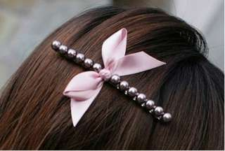 New Cute Fashion Bowknot Pearl Hair Bow Barrette Alligator Clip