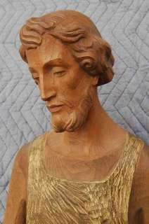 Hand Carved Wood Statue of St. Joseph + + chalice +