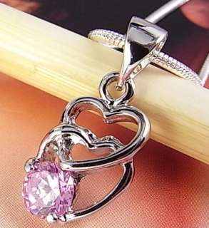 Sterling Silver Filled Necklace w/ 10KGP Pink Sapphire Pendant S18_r04