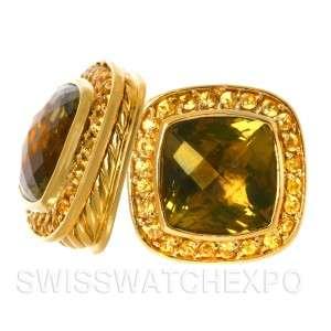 David Yurman Estate 18K Yellow Gold Peridot Yellow Sapphire Earrings