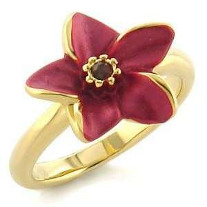 White Metal Gold Plated Ring with Siam CZ   Red Flower