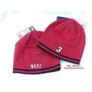 MIAMI HEAT NBA ADIDAS DWYANE WADE Reversible Red/Black Knit Beanie Hat