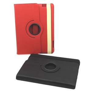 Red 360° Rotating Magnetic Leather Smart Cover Case+Swivel Stand fr