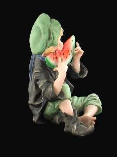 VINTAGE BOY EATING WATERMELON BISQUE PORCELAIN FIGURINE
