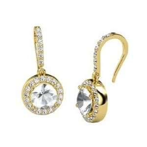Gem Drop Earrings, Round Rock Crystal 14K Yellow Gold Earrings with