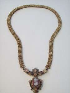 AMAZING ANTIQUE VICTORIAN ROSE GOLD FILL CAMEO & SEED PEARL NECKLACE