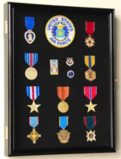 Pin Medal Ribbons Patches Display Case Cabinet Shadowbox  Lockable