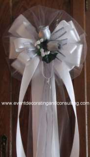 SILVER ROSES WHITE Flora Satin Ribbon Pew Bows