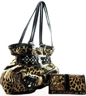 Western Cowgirl Rhinestone Belt Buckle Leopard Hobo Purse Bag Brown