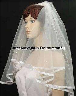 2T DIAMOND WHITE Wedding Bridal Veil Elbow Rhinestone 4
