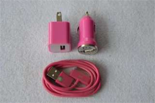USB AC Home Wall +Car Charger +Data Cable for iPod Touch 4 iPhone 4 4S