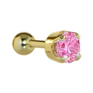 16  Solid 14KT Yellow Gold 4mm Pink Cubic Zirconia Cartilage Earring