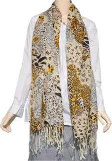 Beautiful Animal Prints 100% Pashmina Cashmere Wool Scarf Shawl Wrap