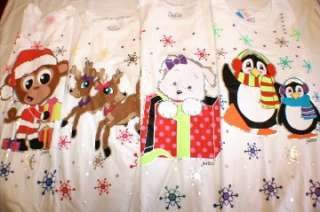 Christmas Top T Shirt Reindeer Monkey Puppy Penguin Sz 6 18 FREE SHIP